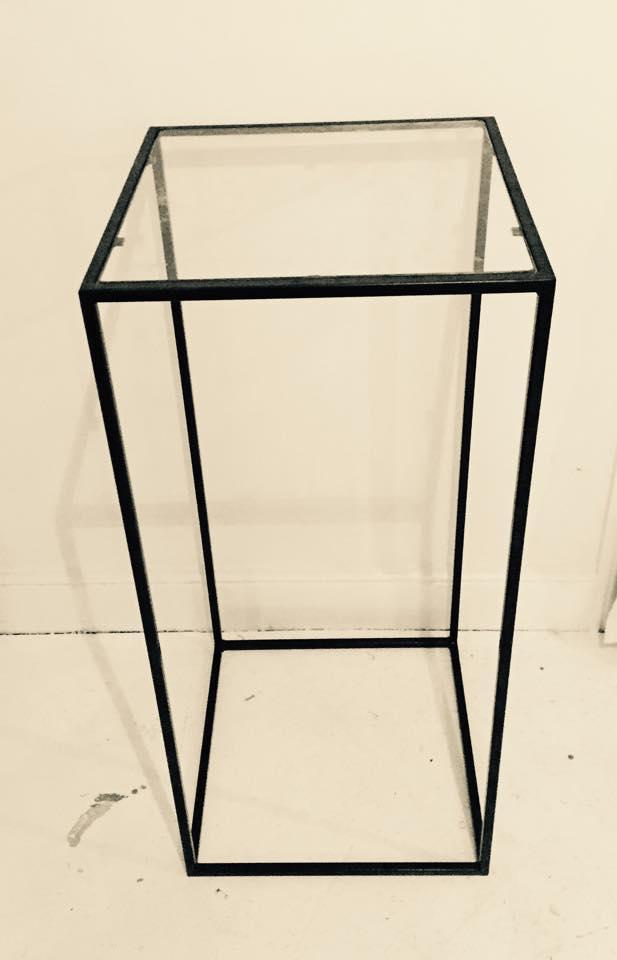Matte Black Metal Hi Bar Glass Top